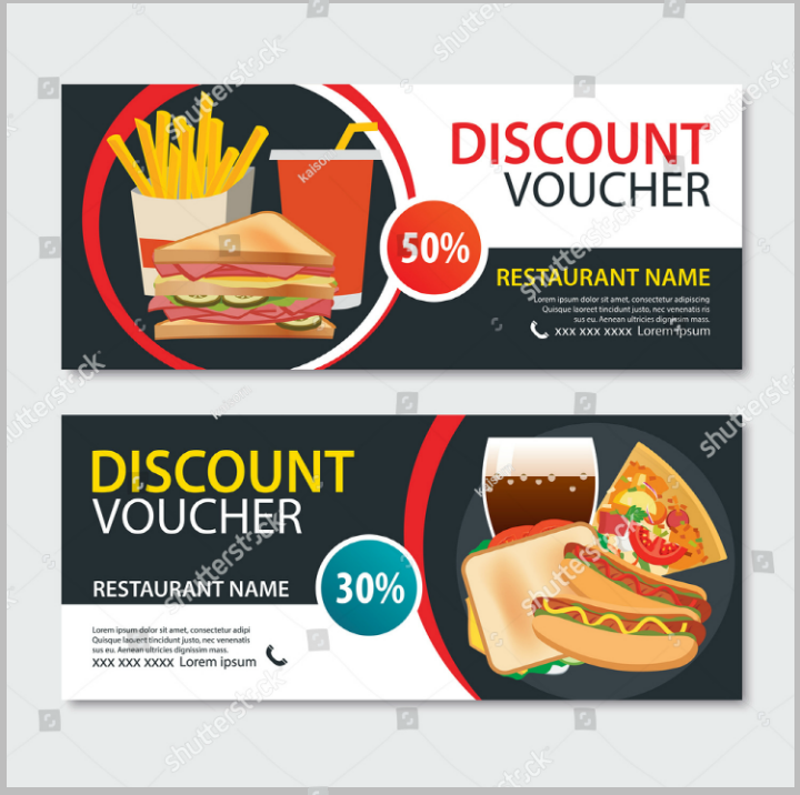 fast food discount voucher card promo template