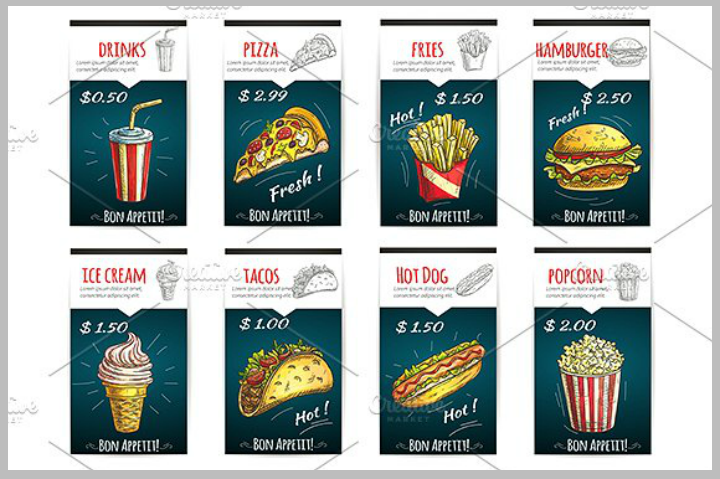 fast food and popcorn menu poster template1