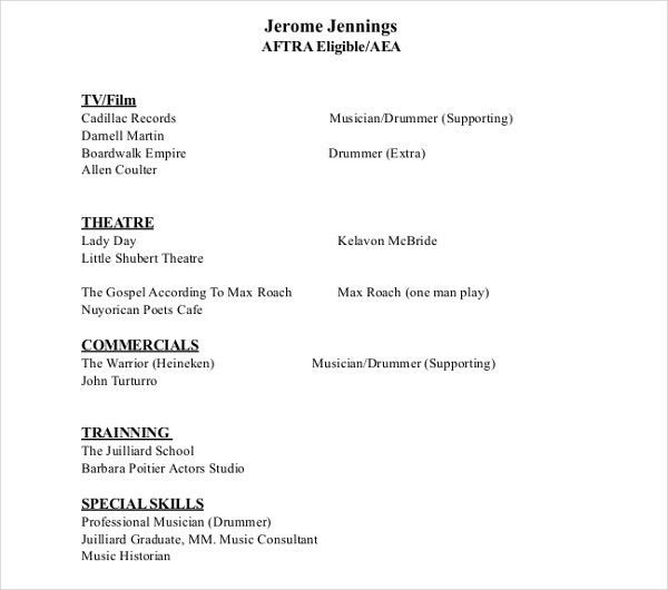 film actor resume template