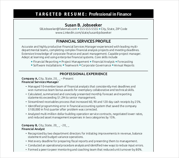 20 Finance Resume Templates Pdf Doc Free Amp Premium