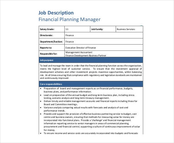 Financial Planning Manager Job Description