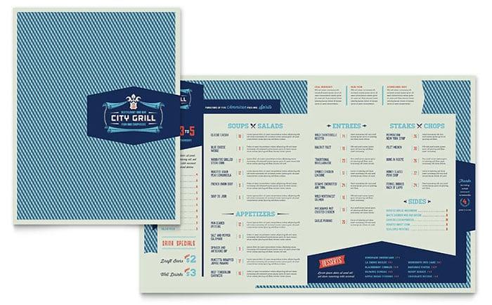 fine dining restaurant menu card