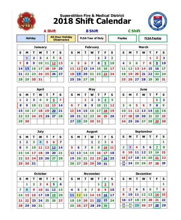 Fire & Medical 2018 Shift Calendar