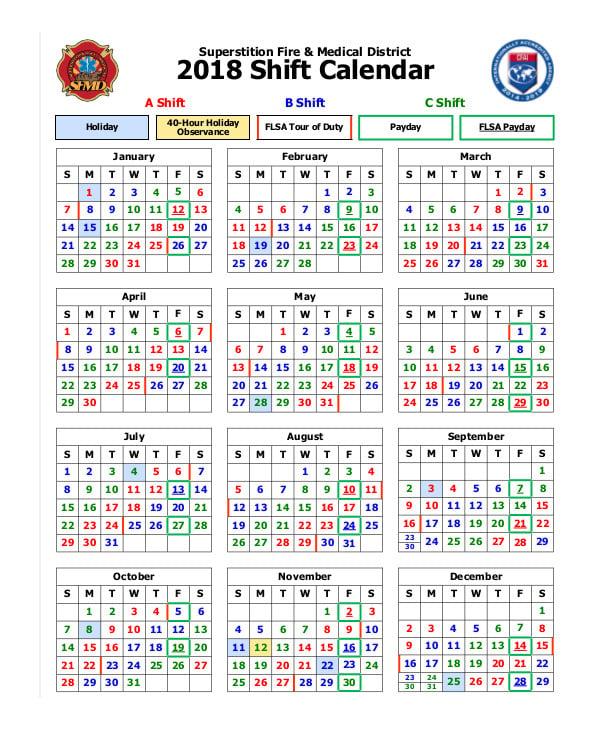 fire medical 2018 shift calendar