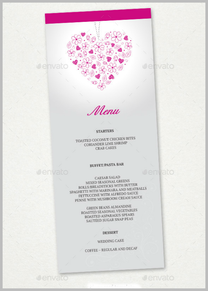 floral hearts reception menu card template