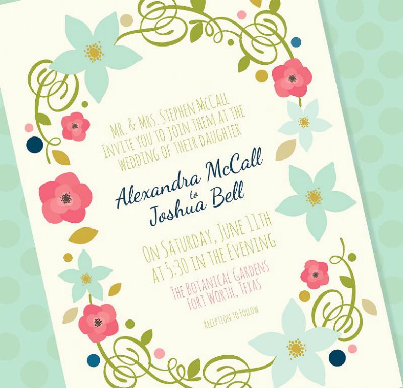 Floral Spring Wedding Invitation Sample
