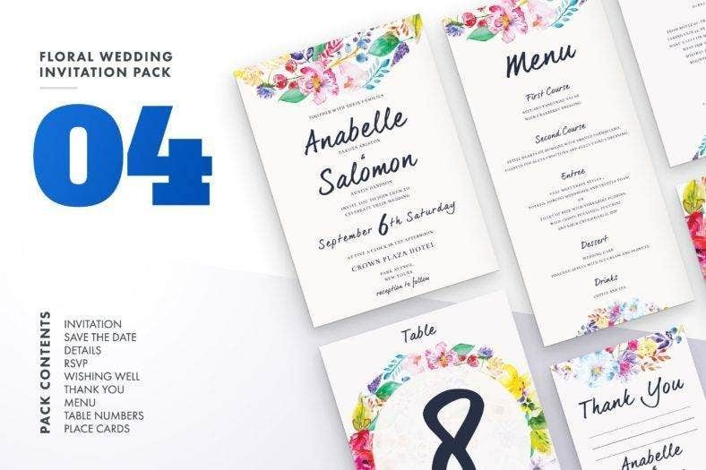 floral wedding menu bundle 788x525