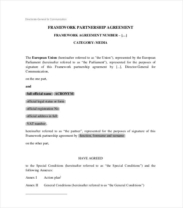 framework partnership agreement