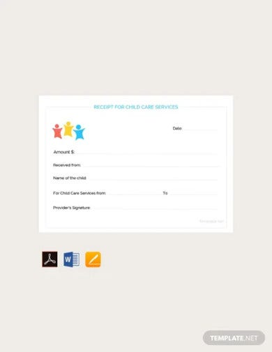 free child care services receipt template