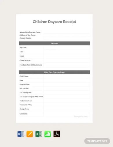 free children daycare receipt template