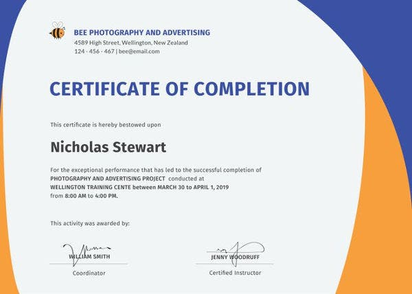 Certificate of completion template 34 free word pdf psd eps free completion certificate template yadclub Images