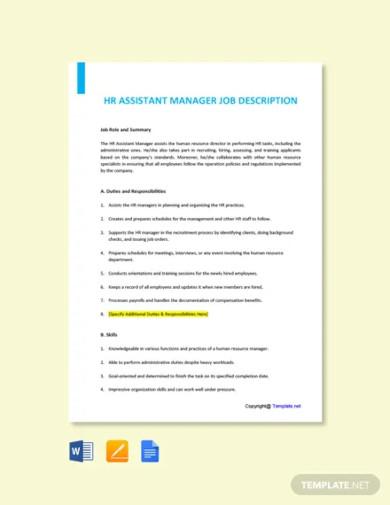 free hr assistant manager job description template