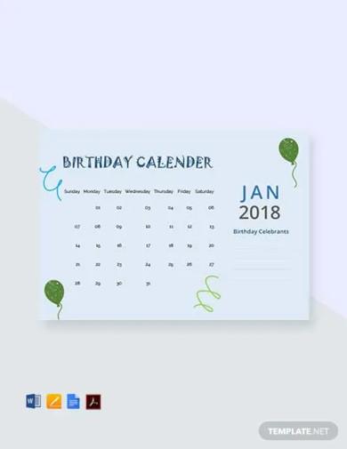 free sample birthday calendar template