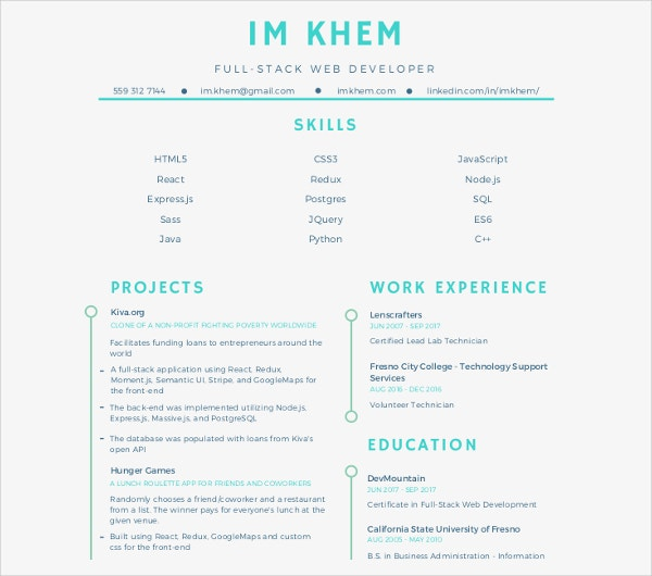 full stack web developer resume template