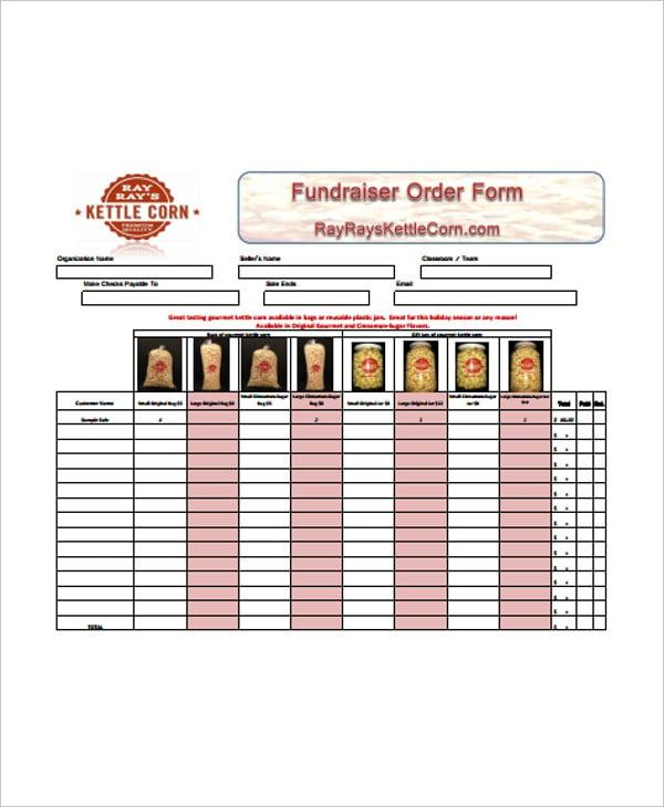 fundraiser order form