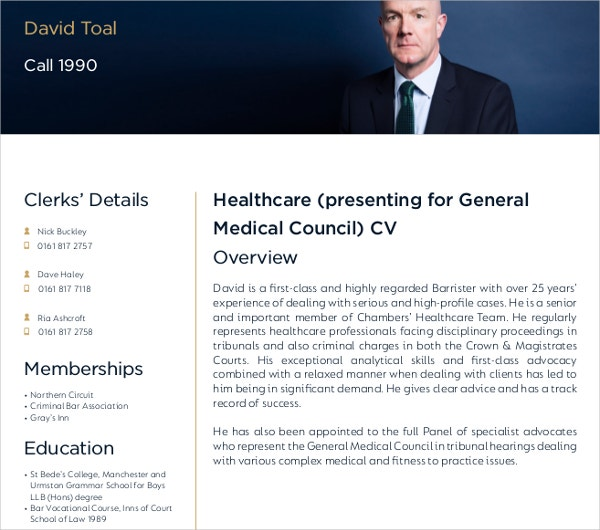 general medical healthcare cv