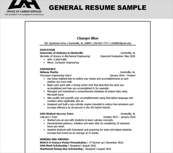 general resume sample