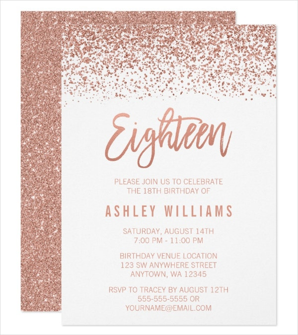 Glitter 18th Birthday Invitation Template