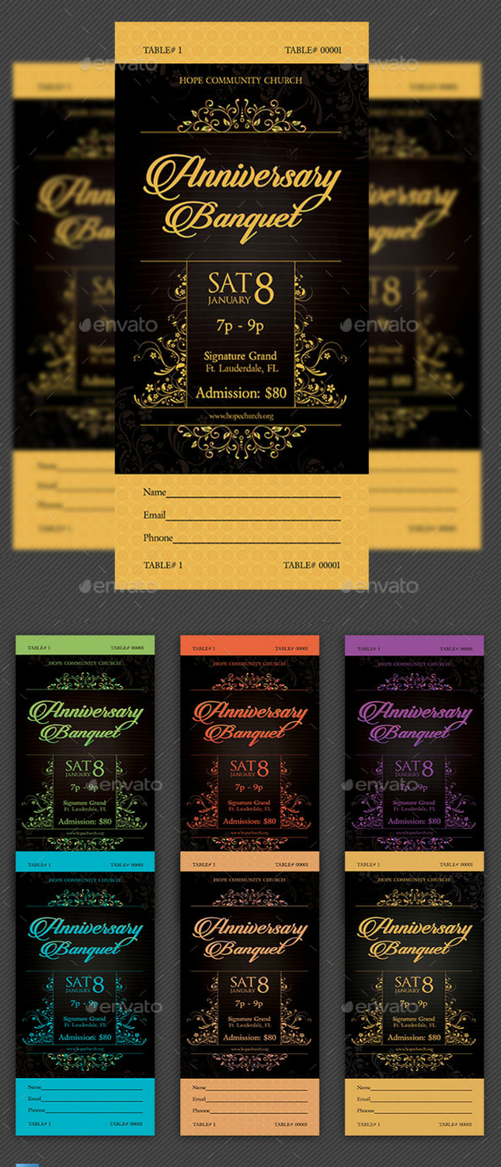 golden restaurant anniversary invitation template