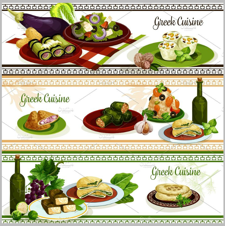 greek-cuisine-national-dishes-menu-banner-template-set