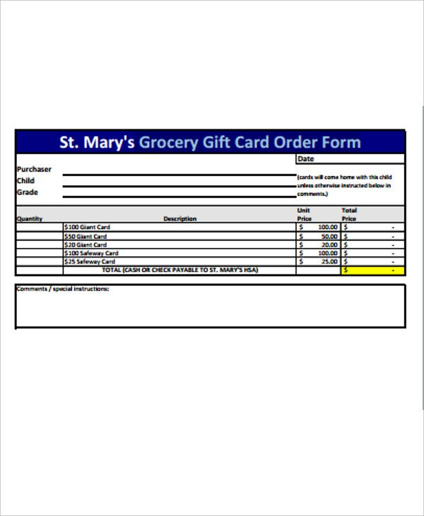 grocery gift card order form