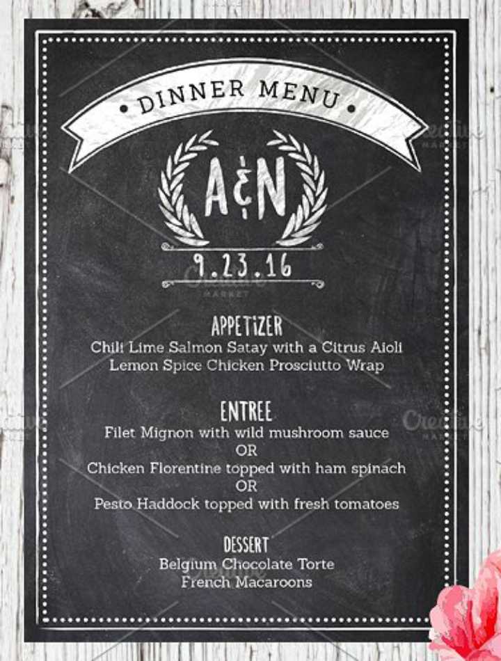 grunge chalk reception menu wedding template