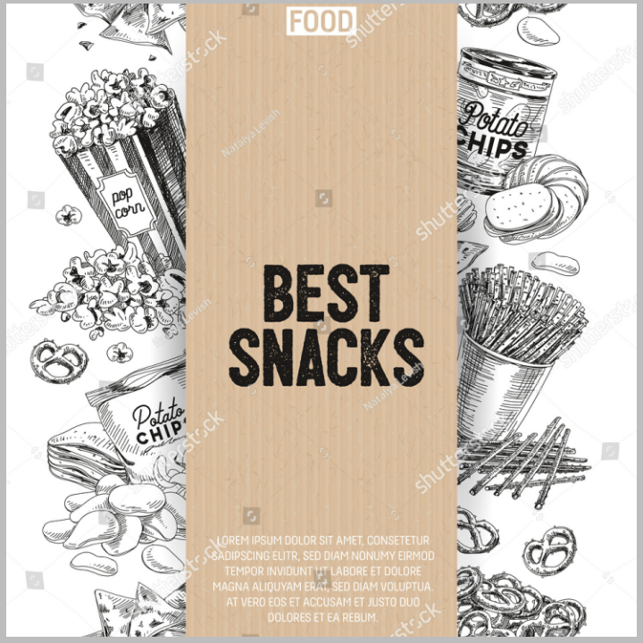 hand drawn snack and popcorn menu vector template
