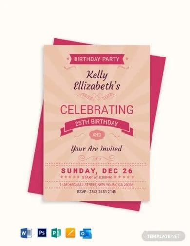 happy retro birthday party invitation card template