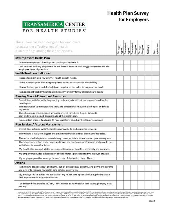 Health Plan Survey for Employer