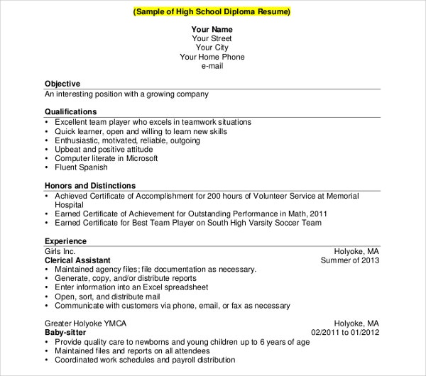 high school diploma resume template