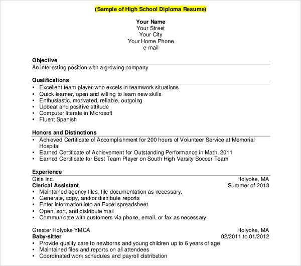 high school diploma resume template1
