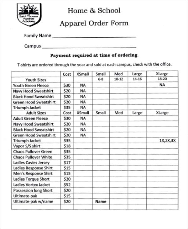 home school apparel order form