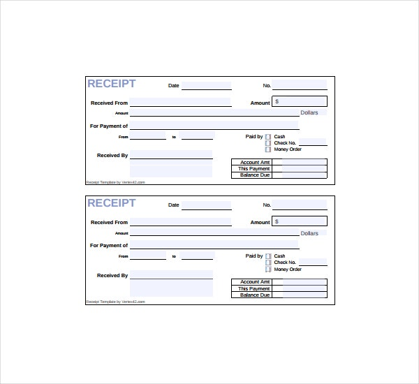 Horizontal Cash Receipt Form