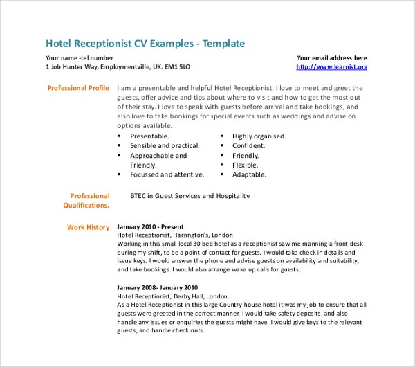hotel receptionist cv template