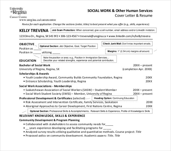 human service social work resume template - Social Work Resume Template