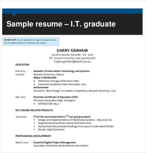 it graduate resume template