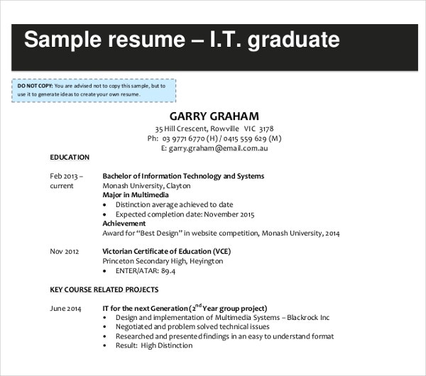 it graduate resume