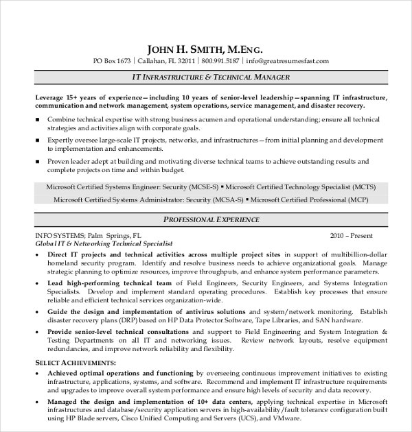 it infrastructure resume template