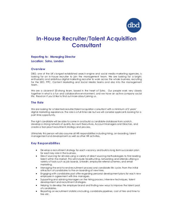 in house talent acquisition consultant