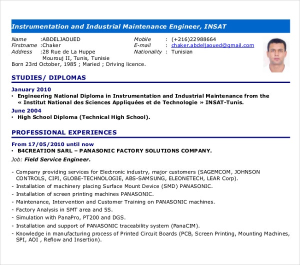 industrial maintenance engineer resume
