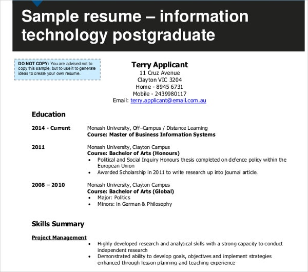 information technology postgraduate resume