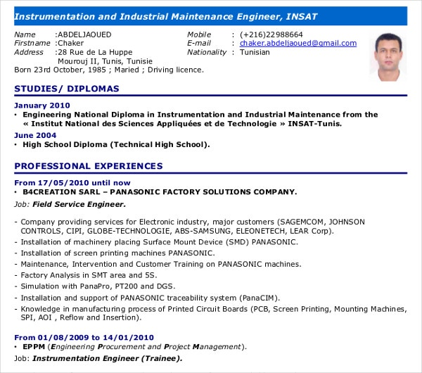 instrumentation maintainance engineer curriculum vitae