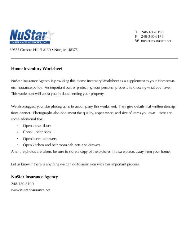 Insurance Agency Home Inventory Worksheet