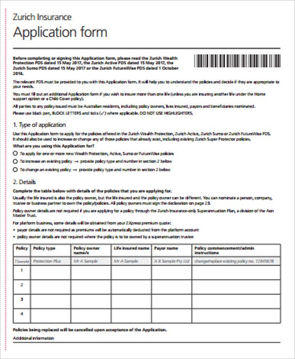 insurance application form example