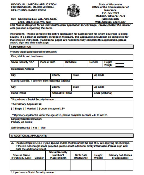 insurance application form in pdf