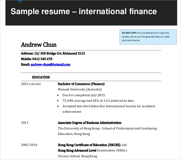 international finance resume