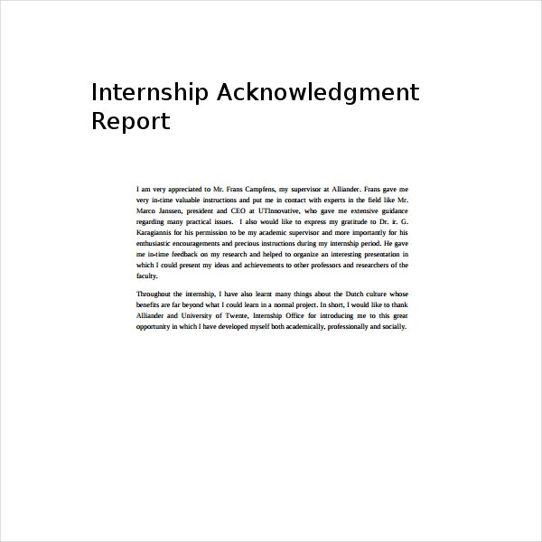 Internship Acknowledgment Report