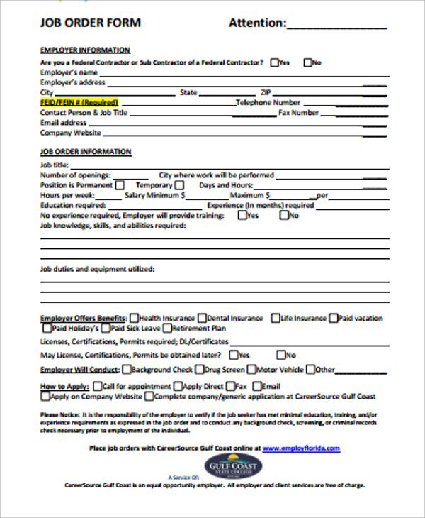 job order form example