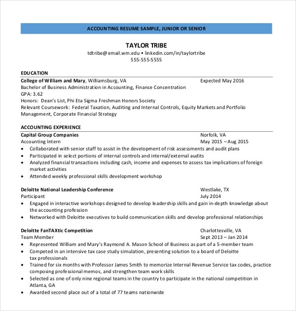 Junior Accounting Resume  Junior Accountant Resume