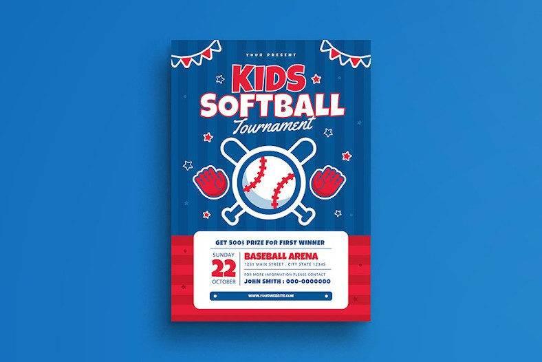 kids softball tournament flyer template 788x526